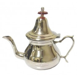 Moroccan handcrafted teapot of medium size in simple un-chased nickel-plated metal