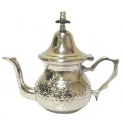 Small traditional Moroccan teapot in hammered silver metal