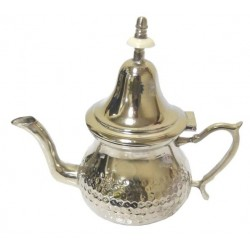 Traditional Moroccan medium teapot in hammered silver metal