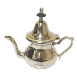 Small traditional Moroccan teapot in simple nickel-plated metal