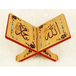 Traditional decorated wooden Koran door - Book support (20 x 30 cm)