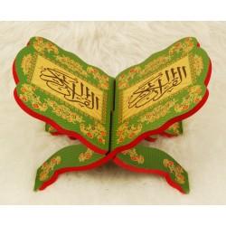 Traditional decorated wooden Koran door - metallic green - Book support (29 x 19 cm)