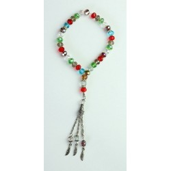 "33-pearl luxury ""Sabha"" rosary in multicolored crystal"