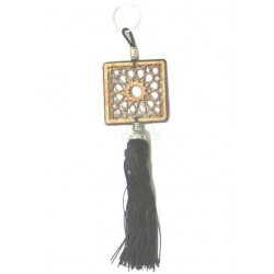 Square shaped wooden pendants / keyring carved with arabesques and sabra pompom in...