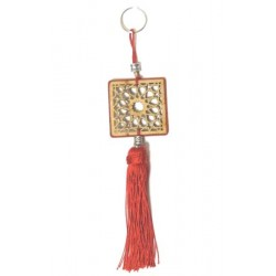Square shaped wooden pendants / keyring carved with arabesques and sabra pompom in red...