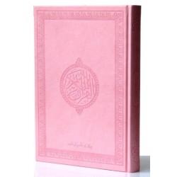 Le Saint Coran version arabe (Lecture Hafs) de luxe avec couverture en daim Rose clair...