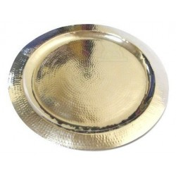 Large round Moroccan artisanal tray in silver metal circled and finely hammered -...