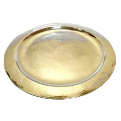 Moroccan medium round handcrafted tray in gold metal circled and finely hammered - 35...