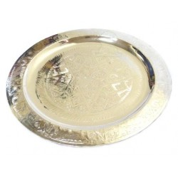 Handcrafted medium Moroccan round tray in silver metal circled and finely chiseled - 35...