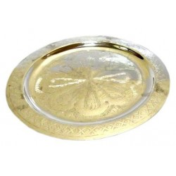 Small Moroccan artisanal round tray in nickel-plated metal circled and beautifully...