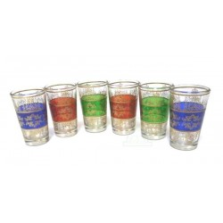 CLASSIC Moroccan tea glasses colored and adorned with traditional golden patterns (Pack...