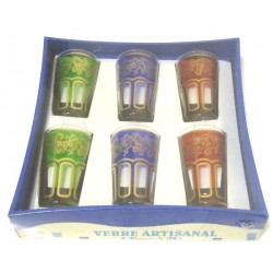 TUNIS tea glasses colored and decorated with traditional golden patterns (Pack of 6...