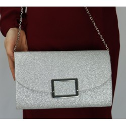 Women's handbag for evening, wedding and party - Silver color