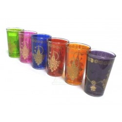 KHLALA tea glasses colored and adorned with traditional golden patterns (Pack of 6...