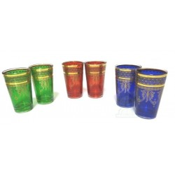 Colorful CRYSTAL tea glasses adorned with traditional golden patterns (Pack of 6 glasses)