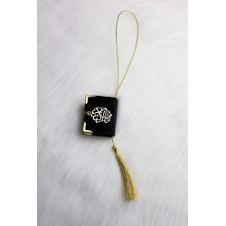 Mini-Coran pendant covered in velvet with golden parts (Deco Islam) - Black color