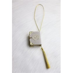 Mini-Coran pendant covered in velvet with gold parts - White color
