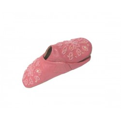 Traditional Berber slipper with rounded end for girls in pink leather decorated with...