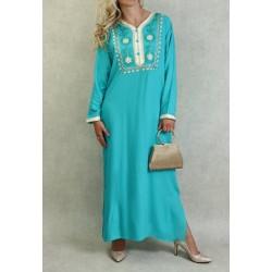 Robe Algérienne avec broderies et strass - Couleur Bleu turquoise