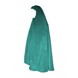 Large Loose hijab and mastour - Large veiled women's cape - Emerald Green Color