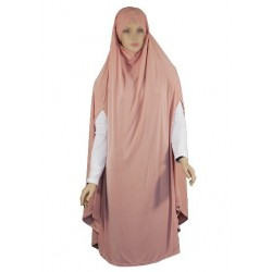 Large cape - Long prayer hijab for women with slits - Dusty pink color