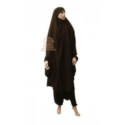 Jilbab two (2) pieces cape and harem pants (pants) - Dark brown color