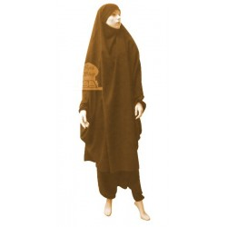 Jilbab two (2) pieces cape and harem pants (pants) - Light brown color