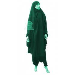 Jilbab two (2) pieces cape and harem pants (pants) - Color Emerald Green