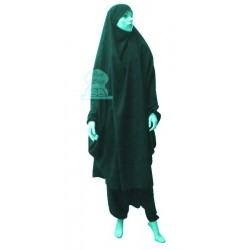 Jilbab (2) two-piece cape and seroual (pants) - Color Duck green