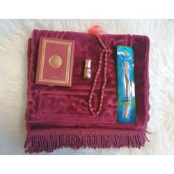 Coffret Cadeau Homme pour Prière/Joumou'a : Tapis velours, Coran de poche, Parfum Musc...