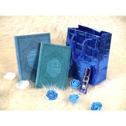 """Pack cadeau de couleur bleu pas cher avec 2 livres """"Les 40 hadiths"""" & """"La Citadelle du..."""