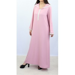 Moroccan djellaba for women with lace and hood - Light pink color