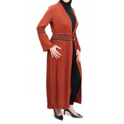 Long pleated cardigan with belt - Brick red color
