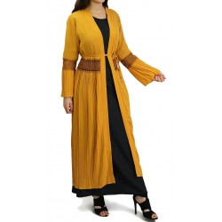 Long pleated cardigan with belt - Yellow color