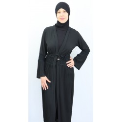 Long pleated cardigan with belt