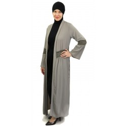 Long pleated cardigan with belt - Taupe color