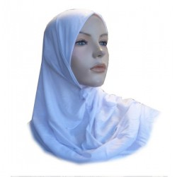 Simple mid-length one-piece white hijab