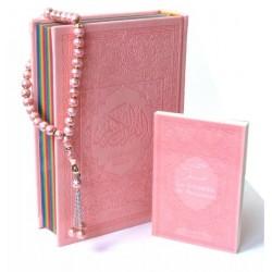 Coffret Cadeau coranique Rose : Le Saint Coran Rainbow Bilingue (aux couleurs...