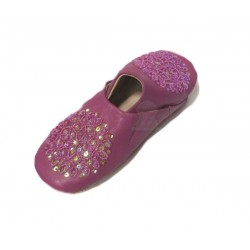 Traditional Berber slipper with rounded end for women purple color decorated with...