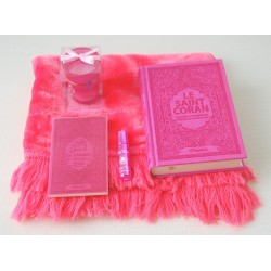 Coffret Cadeau Rose Bonbon pour femme : Le Saint Coran français/arabe/phonétique, La...
