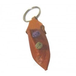 Traditional Moroccan slipper pendant / keychain in orange leather with decorative knots