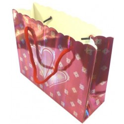 Silver red gift bag with hearts & flowers patterns