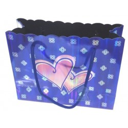 Silver blue gift bag with hearts & flowers patterns