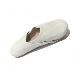 Moroccan artisan slippers for children - Boys - in simple white leather with rounded end