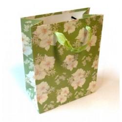 Sac cadeau avec motifs fleurs et paillettes brillantes