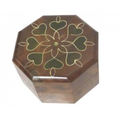 Handcrafted octagonal jewelry box in decorated cedar wood