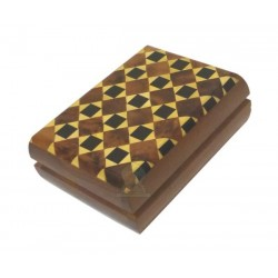 Handcrafted rectangular thuja wood jewelry box with small yellow and black squares...