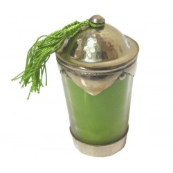 Tealight / Scented candle in glass with lid in chiseled and hammered silver metal...