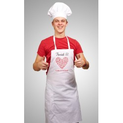 Cooking apron customizable to your choice (for women or men) - Heart utensils