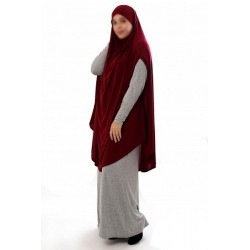Large cape - Long prayer hijab for women with slits - Burgundy color